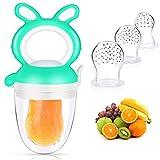 Chupete Fruta Bebe, Alimentador Antiahogo de Fruta Para Bebés y Niños Pequeños con 3 Tamaños Diferentes Reemplazo de Pezones de Silicona, Sin BPA Juguete Para Niños Dentición Chupete (Verde)