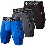 ZENGVEE 3 Piezas Pantalones Cortos Hombre Deporte de Secado Rápido para Running Hombres Deporte para Gym, Yoga, Running(Gray Black Blue-L)