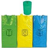 Natuiahan 3 Bolsas de Reciclaje Duraderas Robustas, Prácticas y Fáciles de Limpiar y Transportar. Incluye un Pequeño Contenedor de Reciclaje de Pilas