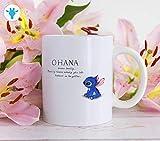 Ohana Means - Taza de café con texto 'Family Lilo and Stitch Tazas con refranes de Disney Stitch de cerámica, regalo inspirador para novia