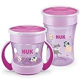 NUK Magic Cup - Juego de vasos para aprender a beber (230 ml + Mini Magic Cup 160 ml, con asas ergonómicas, antigoteo 360°, sin BPA, 6 meses, color morado)