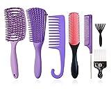 Juego de8cepillos para desenredar, cepillo de champú de cerdas de nailon con cojín de9filas/cepillo de pelo con ventilación/peines de masaje/dar forma definir rizos,cabello húmedo/seco, afro (morado)
