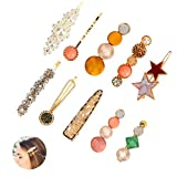 Yideng Pasadores de pelo de perlas, 10 piezas de perlas de diamantes de imitación para el pelo, pasadores de resina acrílica artificiales para mujeres y niñas