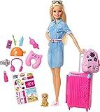 Barbie Vamos de viaje, muñeca con accesorios, edad recomendada: 3 años y mas (Mattel FWV25)