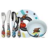 WMF Disney Cars 2 - Vajilla para niños 6 piezas, incluye plato, cuenco y cubertería (tenedor, cuchillo de mesa, cuchara y cuchara pequeña) (WMF Kids infantil)