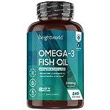 Omega 3 Cápsulas de Alta Dosis 2000mg, Aceite de Pescado Puro 240 Cápsulas - 660 mg de EPA + 440 mg DHA, Suministro de 4 Meses de Perlas Omega 3, Ácidos Grasos Omega 3 EPA y DHA de Alta Absorción