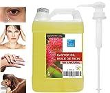 Aceite de Ricino Prensado en frío 1000 ml Con dispensador- 100% Natural Hidratante Endurecedor Uñas, Crecimiento Cabello, Barba, Pestañas, Cejas, Anti Caída Pelo - Vegano, Sin hexano, No OGM