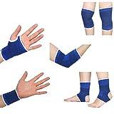 Ndier Juego de protección deportiva: un par de rodilleras, un par de muñecas, un par de guantes, un par de tobillos y un par de codos para deportes, ejercicios y fitness.