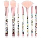 Set De Maquillaje Pincel 7 Piezas Mango De Cristal Arena Líquida Rubor Líquido Sombra De Ojos Pincel De Contorno B-326 Rosa