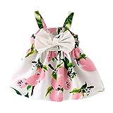 K-youth Vestido de Niña Floral Bowknot Vestido de la Honda Princesa Vestido Bautizo Bebé Niñas Vestidos de Sin Manga Primavera Verano Ropa para 0-24 Meses (Rosa, 0-6 Meses)