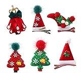 Lurrose 6pcs pinzas para el cabello de niños de navidad adorables pasadores de pelo decorativos de navidad pinzas para el cabello accesorio para el cabello para niños