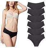 Bragas de Mujer sin Costuras Señoras Ropa Interior Secret Hug Sexy Low Rise Bikini Bragas, Pack de 6 Negro XS