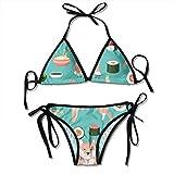 Conjunto de Bikini Triangular con Fideos y Tiras de Perros Sushi para Mujer Traje de baño de Dos Piezas para Mujer