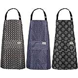 Opopark 3 Piezas Delantales de Cocina, Delantal Ajustable Delantal de Cocina Impermeable para Hombre y Mujer
