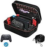 Funda para Nintendo Switch, iVoler Estuche Dura de Transporte de Lujo, Carcasa Rígida de Viaje para Consola, Adaptador AC, Joy-Con Grip, Strap Joy-Con, 18 Cartuchos de Juegos y Otros Accesorios