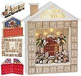 BRUBAKER Calendario de Adviento de Madera Reutilizable para Rellenar - Cuna de la Historia de la Biblia con iluminación LED - Calendario de Navidad DIY 31.5 x 38.2 x 6.3 cm