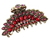 Fodattm Pinza para el pelo con diseño de flores retro para niñas y mujeres, con diamantes de imitación de aleación antideslizante para la mandíbula para el cabello, accesorio de baño para cabello grueso y elegante (rojo)
