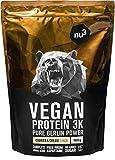 Batidos de proteínas veganas - Proteína vegetal 3K en polvo - de 3 componentes vegetales (guisante, cáñamo & arroz) - 1 Kg sabor cookies & cream - Suplemento deportivo para hombres y mujeres - de nu3