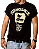 MAKAYA Camiseta Hippie Hombre - Woodstock - Negro M