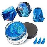 Cera de Color Para el Cabello, Tinte de Cabello Temporal Mujer y Hombre, Cera Pelo DIY, Fórmula Planta Lavable Cera de Peinado Natural Mate 4.23 OZ - Azul