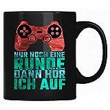 Taza de café con texto en alemán 'Nur noch eine Ronda dann hör ich auf - Divertida taza de café, taza de café, regalo para jugadores con refranes - Idea de regalo para jugar