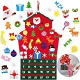 Queta Calendario de Adviento para llenar, Fieltro Calendario de Navidad con 24 Adornos navideños DIY Regalo para niños Decoración de la Pared de la Puerta del hogar