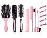 Juego de 12brochas para el cabello, cepillo para desenredar con cepillo de nailon, cepillo de pelo redondo/peine rectangular con 2cepillos de doble cara+5clips dar forma a rizos húmedos y secos(Rosa)
