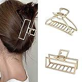 Runmi Pinzas para el pelo de metal, pinzas de pelo medianas, diseño francés, accesorios para el cabello para mujeres y niñas (paquete de 2)
