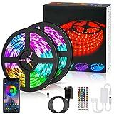 LETION 10M Tira LED, Tiras LED RGB 5050 12V con 300 LEDs, Iluminación de ambiente,Impermeable IP65, Control Remoto de 44 Teclas para Decoración de Casa, Jardín, Fiesta, etc(10M)