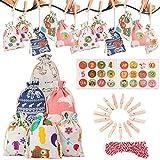 Adkwse Calendario de Adviento para rellenar – 24 bolsas de tela para regalo de Navidad, 1 – 24 pegatinas con números de Adviento, relleno para niños, decoración del calendario de Navidad
