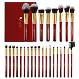 DUcare Brochas de Maquillaje Profesional Rojo 27 pcs Maquillaje Profesional Pinceles Premium Synthetic Maquillaje de Ojos, Rubor, Contorno, Corrector, Pinceles Cosméticos