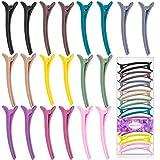 MELLIEX 20 Piezas Pinzas para el Pelo de Duckbill, Clips de Cabello de Peluquería Pinza de Pelo de Cocodrilo Plastico Multicolor para mujeres y niñas