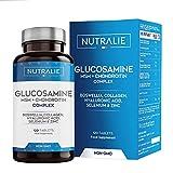 Glucosamina con Condroitina, MSM y Colágeno   Mantenimiento de Huesos Normales con Glucosamina, Condroitina, MSM, Colágeno, Ácido Hialurónico, Boswelia, Selenio, Zinc   120 Comprimidos Nutralie