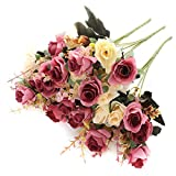 SUNNEGO Flores Artificiales, Flores de Seda Rosa Falsa decoración 6 Rama 12 Cabezas decoración para Mesa Home Office 3 Paquetes (Rojo Rosa, 3)