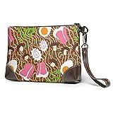XCNGG Delicioso bolso de mano de cuero sin costuras para fideos instantáneos para mujer, carteras ligeras y duraderas para compras de 8 x 5,5 x 1,5 pulgadas