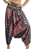 Pantalones de Yoga Mujer Harem Boho del Lazo del Pavo Real Flaral Funky #1 Flor Impresa-C