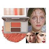 Mimore Professional Blush Shimmer Powder, Matte Shimmer Blush & Highlighter & Glitter Metallic, Paleta de belleza cosmética, Rubor en polvo fácil de mezclar(01)