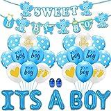 Yisscen Baby Shower Party Decoration, Juego de decoración de fiesta de cumpleaños, Globo chico con banner, para Baby Shower, Decoraciones de fiesta de cumpleaños (Azul)