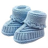 Bebé ReciéN Nacido Chico Chica Zapatos de Ganchillo,logobeing Tejido de Punto Encaje Profesional Artesanal (Azul)