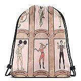 Bolsa de deporte con cordón para gimnasio, cincha de viaje, para mujeres, hombres, niños, personajes de circo vintage de Acrobat barbudo LGymnast fuerte hombre arlequín Mime
