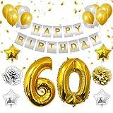 Belle Vous 60 Cumpleaños Decoración - 60 Números Dorados Globos, Happy Birthday Pancarta, Dorados y Plata Globos de Latex, Globos de Estrella, Pom Poms para Hombre Mujer