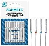 SCHMETZ - Agujas para máquina de coser universales (regular), varios tamaños 70/10, 80/12, 90/14 y 100/16, paquete de 10
