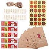 NUOBESTY Kit de calendario de Adviento con 24 bolsas de papel para manualidades, clip de madera, cuerda de yute, calendario de Adviento vacío para llenarte de Navidad, 1 juego estilo 2
