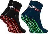 Rainbow Socks - Hombre Mujer Calcetines Antideslizantes de Deporte - 2 Pares - Negro Azul - Talla 42-43
