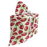 ABAKUHAUS frutas Bolsa de Regalo para Baby Shower, Comida fresa Vivid, Tela Estampada con 3 Moños Reutilizable, 70 cm x 80 cm, Cáscara de huevo rojo verde verde oliva