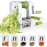 Sedhoom Espiralizador de Vegetales Cortador de Verduras de 5 Cuchillas,Doblado Espiralizador de Verduras en Espiral,Juliana,Espaguetis,Tallarines,Cintas o Fideos