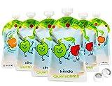 Bolsas de comida para bébés reutilizables (pack de 6), sin BPA | fácil de llenar y limpiar | ideal para batidos de fruta caseros, papi | adecuado para congelador y lavavajillas (175 ml)