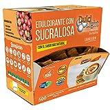 EDULCORANTE SUCRALOSA DULCILIGHT 500 Sobres, Natural granulado con DISPENSADOR Y fibra Vegetal|1gr = 10gr de azúcar| EL Sabor, la textura y el Sonajero del azúcar LIBRE de calorías