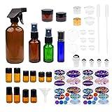 Kit de Botellas de Aceite Esencial Recargables - 16 Botellas/Tarros de aceite esencial de varios tamaños, 3 Atomizadores, 16 Tapas, 78 Etiquetas (4 tamaños), 2 Goteros + Embudo