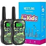 Nestling Walkie Talkie para niños, Camuflaje al Aire Libre, 8 Canales, Radio de 2 vías, Juguetes, Linterna LCD retroiluminada, Rango de 3 Millas para Actividades Infantiles (2pcs Verde)